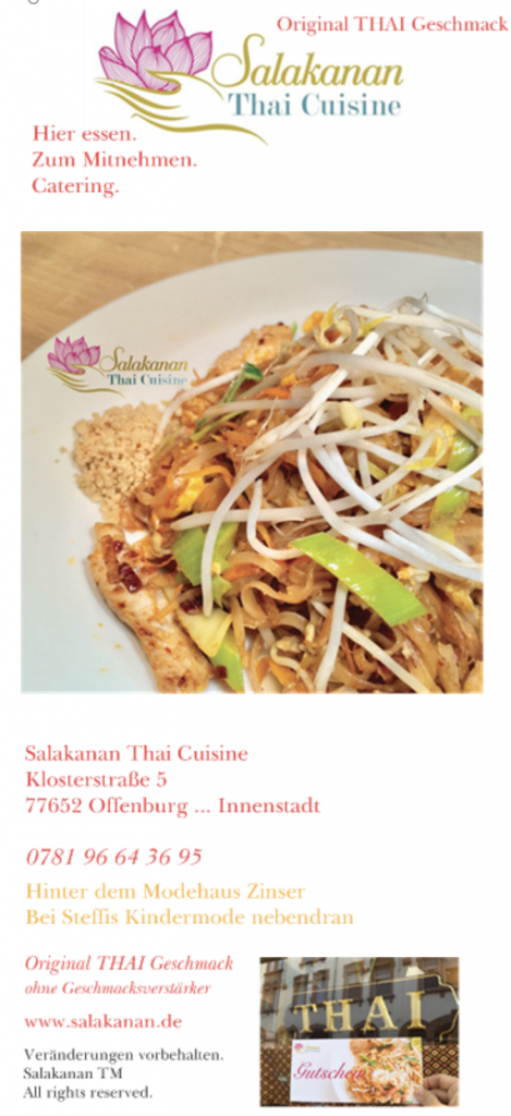 Salakanan Thai Cuisine Restaurant Offenburg Gengenbach duplex